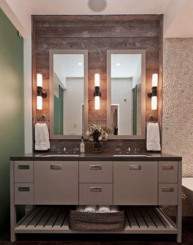Popular Stylish Mirrors And Pretty Sconces Will Easily Update Every Bathroom Consider A Replacement Such As A Rustic Wood Mirror To Add Texture And Cool Chrome Sconces For Contrast In This Space Above By Jennifer Worts Design, Rustic Wood