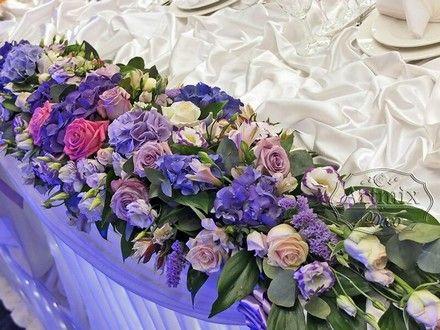 Цветочная композиция для весенней свадьбы из гортензии и сирени | свадебная флористика