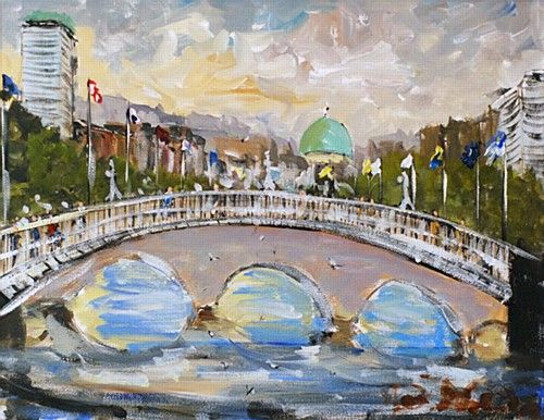 "Deborah Donnelly, ""Ha' Penny Bridge"" #art #Dublin #painting #city #cityscape #bridge #HaPennyBridge #HaPenny #citylife #DukeStreetGallery"