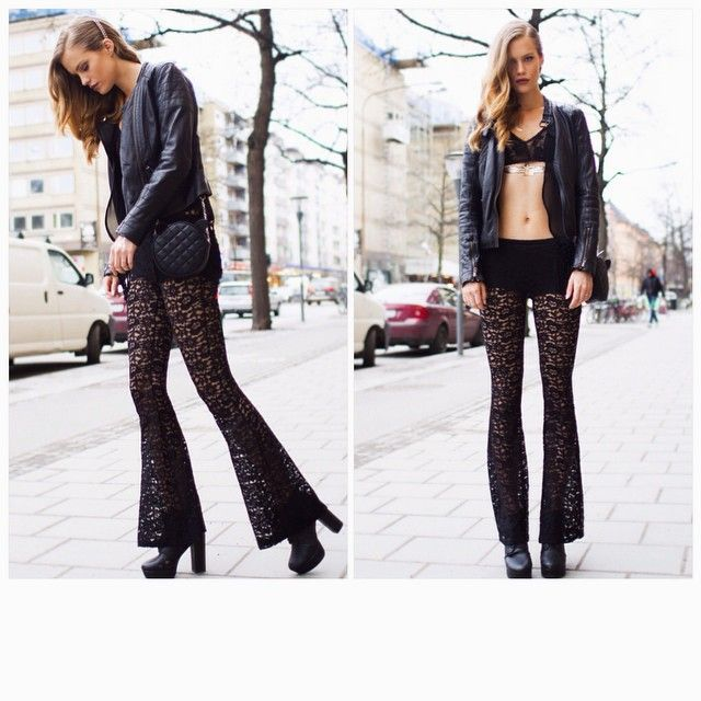Swedish top model Agnes H in black lace and leather.