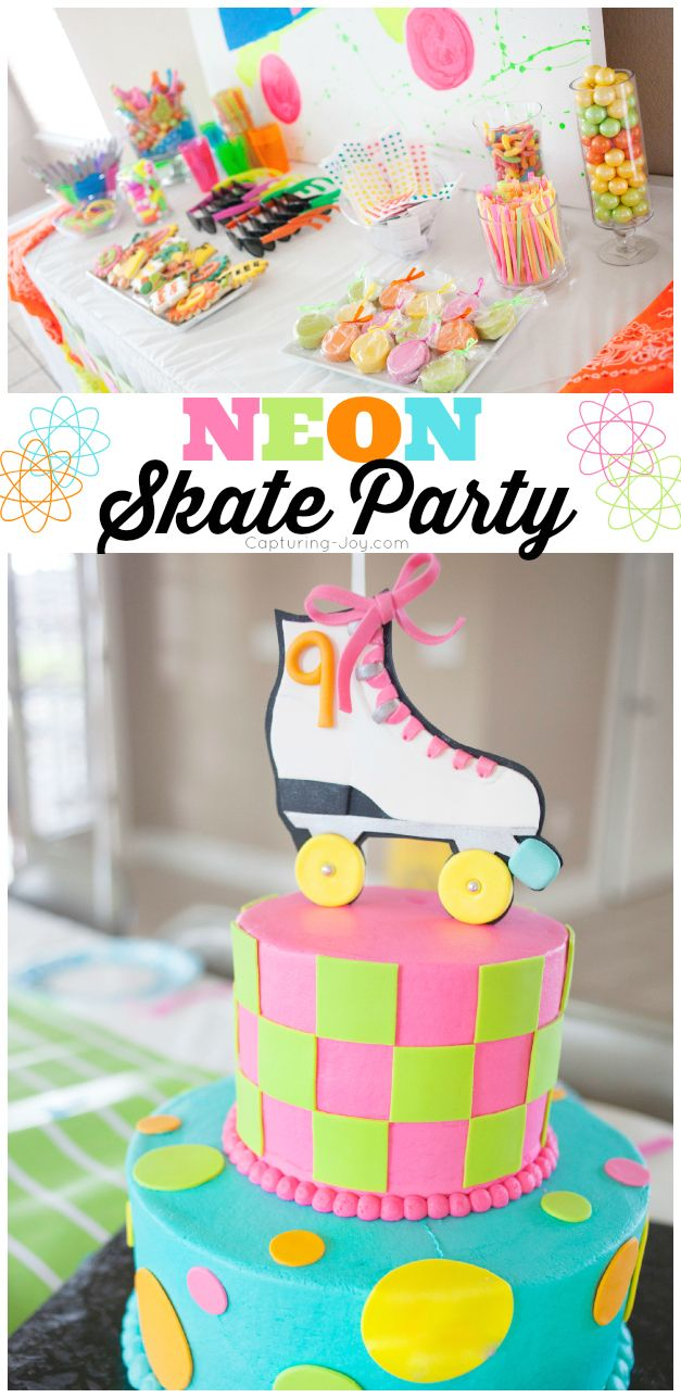 NEON Skate Birthday Party, if your child likes to Roller Skate, check out this fun girl's party!