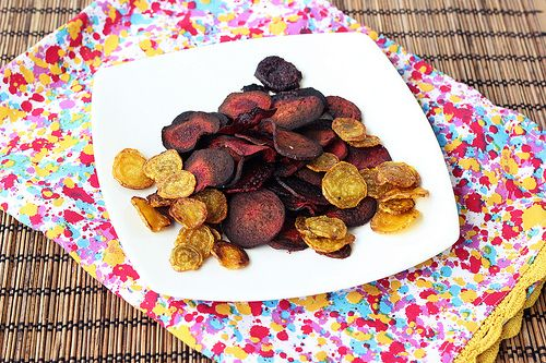 Crispy Baked Beet Chips  Red and Golden Beets (sub) Seasoned salt and Aleppo  (sub) Grape Seed or Coconut oil