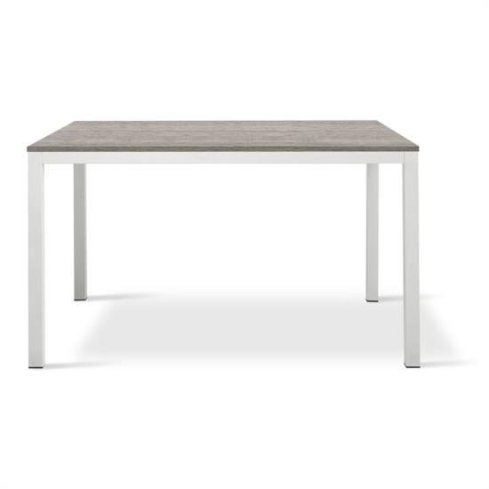 Tavolo in metallo laccato bianco con piano e allunga in melaminico