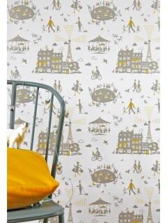 Famille Summerbelle: Tapet Un Dimanche à Paris (sølv/gul): Yellow Silver, Pattern, Wallpapers, Paris Wallpaper, Kids Rooms, Sunday