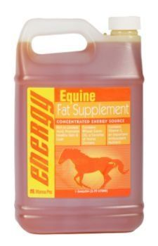 Manna Pro Equine Fat Supplement by Manna Pro. $16.19. Size: 1 Gallon. Manna Pro Equine Fat Supplement Manna Pro Equine Fat Supplement is a great way to add fat to your horse's diet without increasing grain intake. Rich in linoleic acid, which helps promote a shiny, healthy coat, this concentrated energy source is a powerful blend of wheat germ, soybean and corn oils designed to promote weight gain in horses of all ages. Also provides Vitamin E, an important antioxidan...