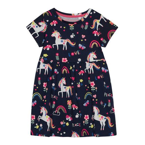 9268cd96af6f bluezoo Girls' Navy Unicorn Print Dress | Debenhams | SPRING 20 ...