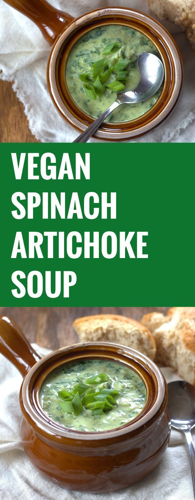 This Vegan Spinach and Artichoke Soup will convert any non-vegan. Did I mention I love soup?! #vegan #soup