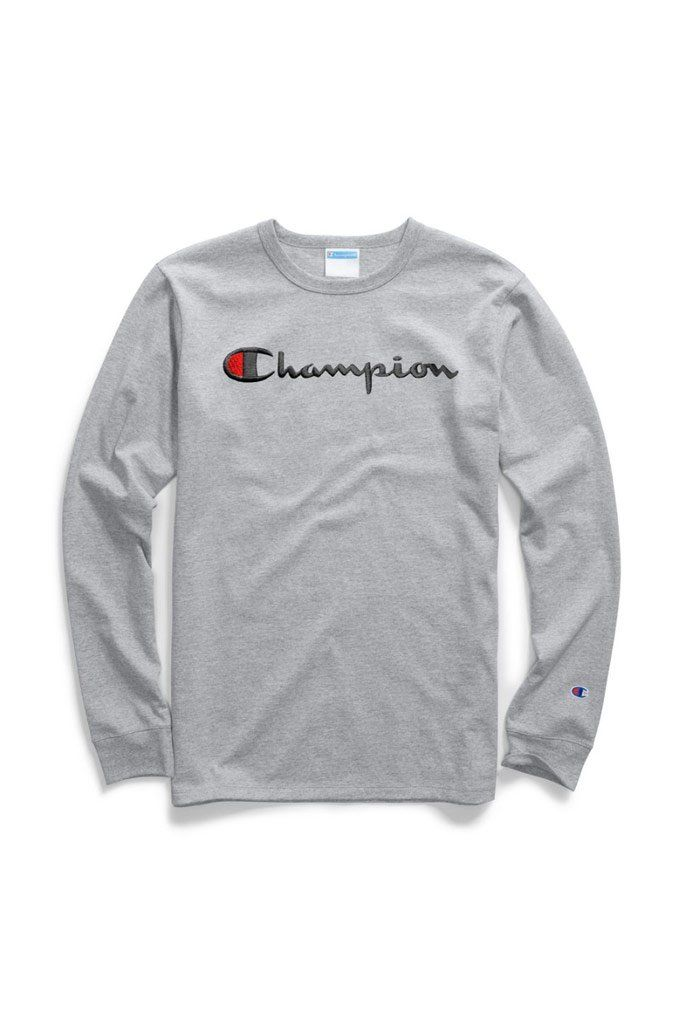 Champion Heritage Script Embroidered Long Sleeve Tee Mens Long Sleeve Tee Long Sleeve Tees Long Sleeve Shirts