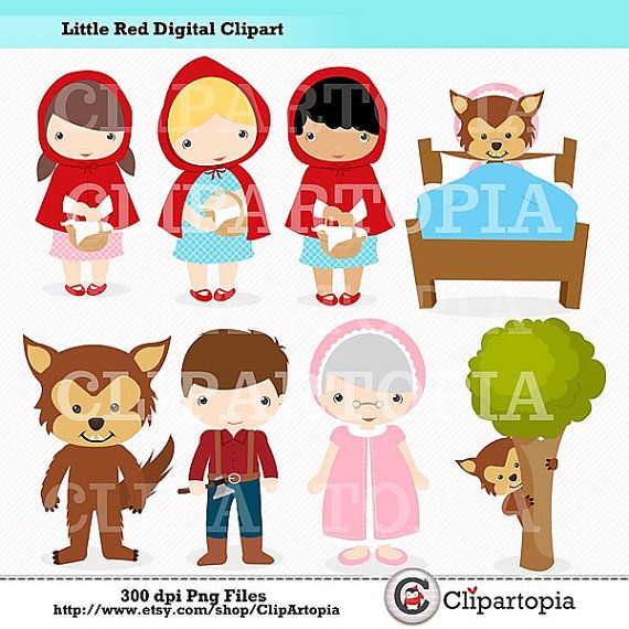 Caperucita Roja Digital Clipart para uso Personal y Comercial