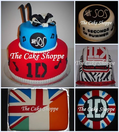 One Direction and 5 Seconds of Summer cake collage