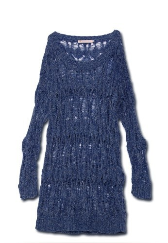 Blue Long Sleeve Space Dye Ripped Distressed Jumper