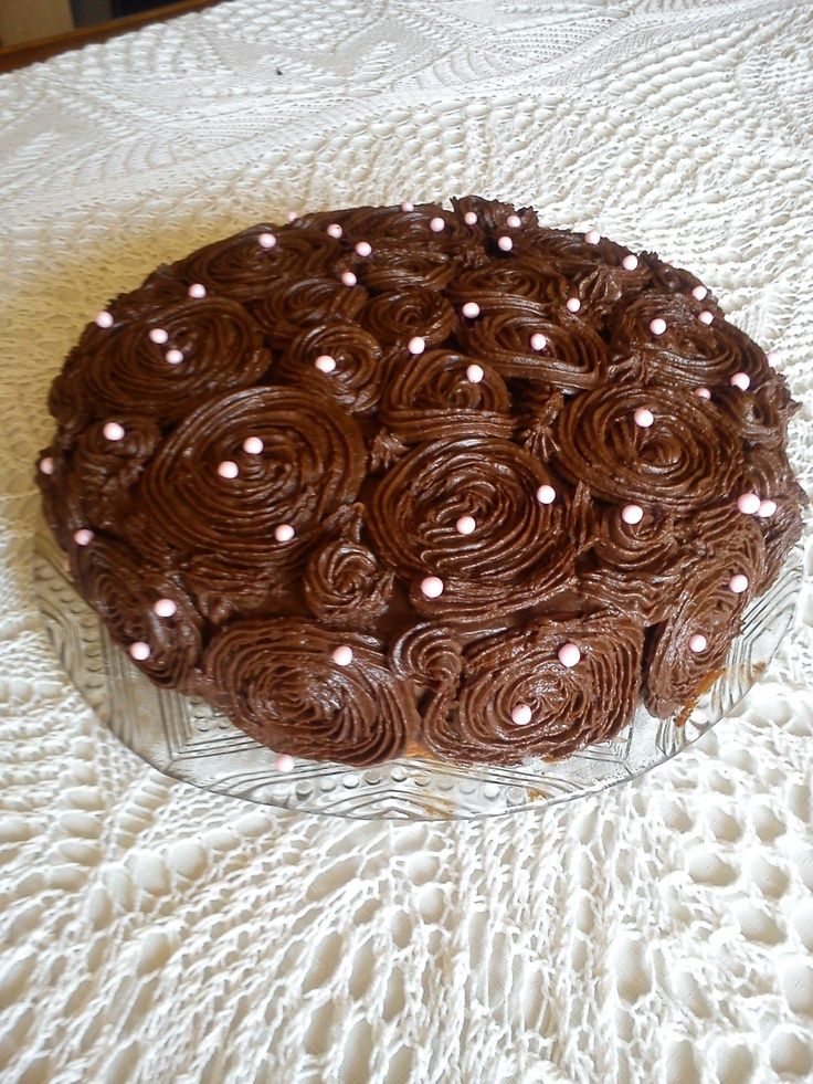 Rose cake with creme ganache