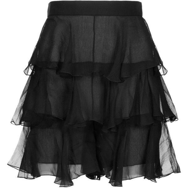 Balmain - Ruffled Silk-chiffon Shorts ($1,200) ❤ liked on Polyvore featuring shorts, black, ruffle shorts, ruffle trim shorts, frill shorts, balmain shorts and balmain