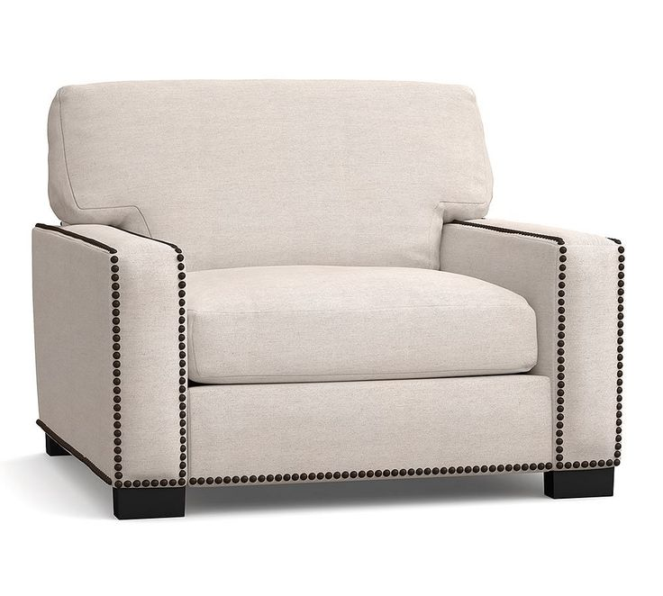 Turner Square Arm Upholstered Armchair With Bronze