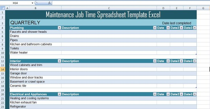 Maintenance Job Time Spreadsheet Template Excel  Excel