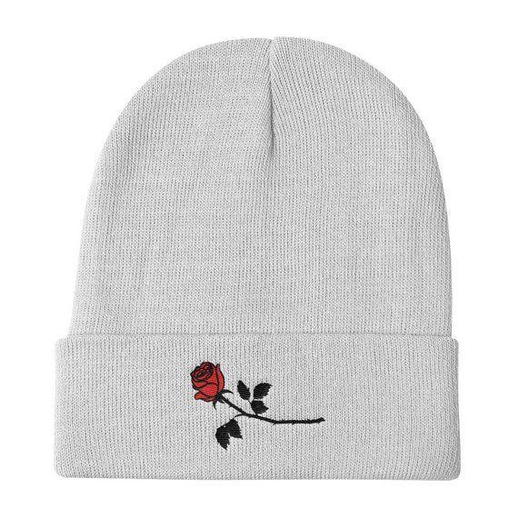 "8621c55c08dc47 Rose Knit Beanie Tumblr Hipster Grunge Aesthetic Streetwear Roses  Alternative Fashion Urban Rad Peta. """