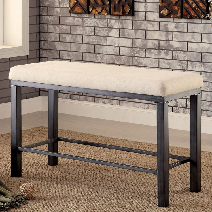 Furniture Of America Kesso Industrial Metal Counter Height Bench (Metal),  Brown