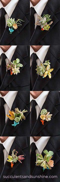 Succulent Boutonnieres - How to Make a Succulent Boutonniere - www.succulentsandsunshine.com