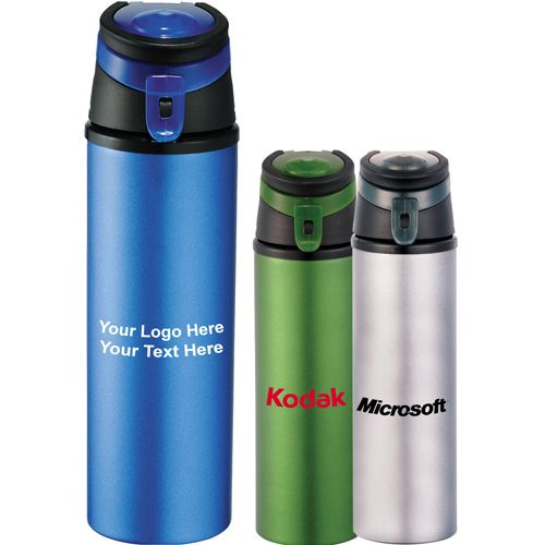 Customized 20 Oz Flip Top Aluminum Bottles -  Grab this handy aluminum bottle, satisfy your thirst wherever you are! #promotionalproduct    #giveaways #travel #drinkware