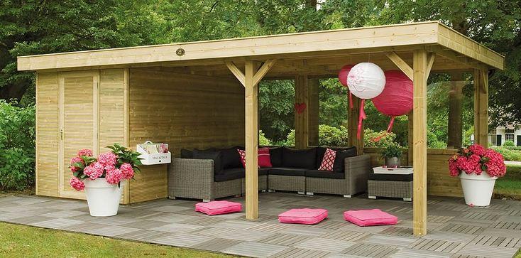 Design tuinhuis met grote overkapping Living Modulair Excellent 700 van Hillhout met en totale dakmaat van circa: 724 x 390 (b x d)