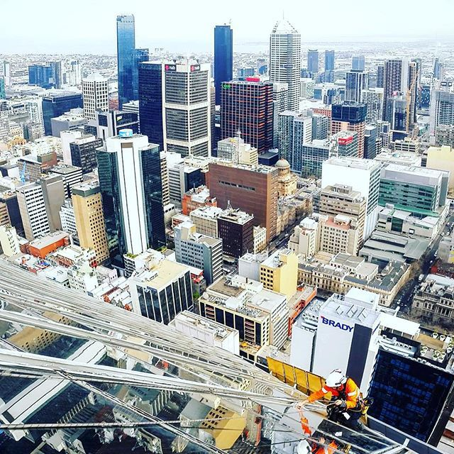 We absolutely love this photo shows the beauty of #ropeaccess and even better the beauty of #Melbourne