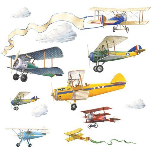Nursery Wall Decals: RoomMates RMK1197SCS Vintage Planes Peel U0026 Stick Wall  Decals By RoomMates.