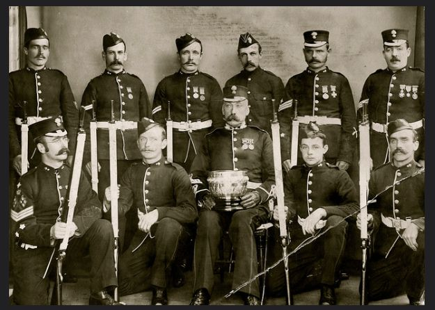 Portmadoc Volunteers  Taken about 1901/02 winners of a cup for marksmanship.   Centre, Sgt Hammond, David Livingstone Ackers, not Tom Ackers as I originally thought, in the front row second from right.