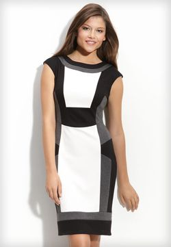 Colour block dress black and white shoes