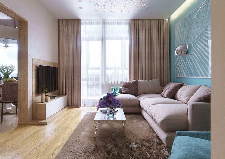 Világos, meleg és szép kék árnyalatok összhangja, praktikus gardróbok, természetes fa és elegáns kő burkolatok - kétszobás lakás