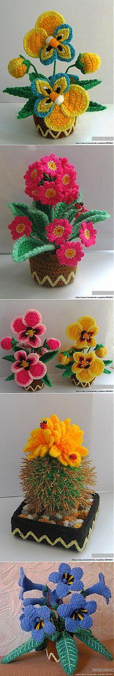 Вязаные цветочки крючком ИДЕИ.