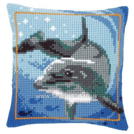 "Dolphin Cushion Front Chunky Cross Stitch Kit £25.92 16"" x 16"" (40cm x 40cm). This cushion front kit contains needle, full colour printed canvas and yarns and is worked using a full cross stitch. Chunky Cross Stitch © Vervaco"