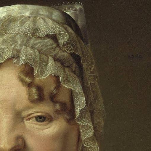 Particolari di opere: Ritratto della madre del capitano von Stierle-Holzmeister. Ferdinand Georg Waldmuller, olio su tela del 1819. Alte Nationalgalerie, Berlino. Grassoccia, un pochino acidella come espressione, con lenti boccoli che scendono al di sotto della cuffia, morbidi morbidi: i pizzi sono resi molto bene, anche loro morbidi con un grande fiocco che si intravede dietro, una cuffia come quelle che si vedono sulle bambole di tanto tempo fa.