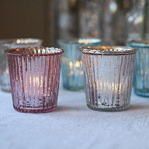 Ribbed Mercury Glass Tea Light Holder - christmas home accessories