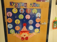 clown juggling on bulletin board or door with Crafts title