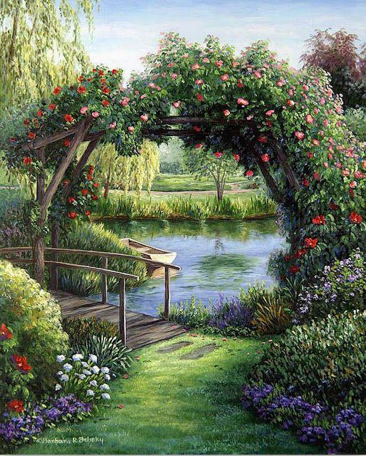 Cuadros Modernos Pinturas : Cuadros de casas con jardines, Barbara Rosbe Felisky
