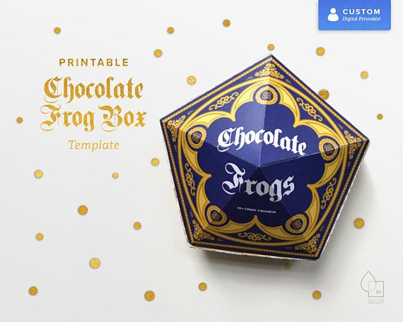 Instant Download Printable Pdf Chocolate Frog Box Template High Resolution Vector Pdf Of Foldable Chocolate F Chocolate Frog Harry Potter Party Box Template