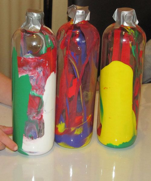 Paint inside a bottle! Great for colour mixing theory and practice!