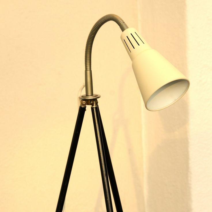 """Tripod Loft Lampe """"Architekt"""" beige Retro Stehlampe Bauhaus Stil Stativlampe"""
