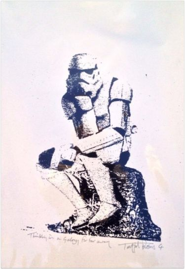 """Thinking in a Galaxy far far away"" von Trafford Parsons, limitierter Siebdruck - Hove - Drucke › Kunstplaza"
