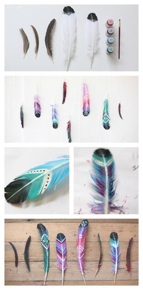 DIY Pintar plumas y usarlas para decorar