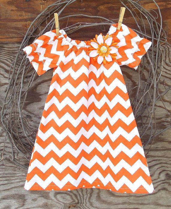Girls Orange Chevron  Dress Peasant Dress by SouthernSister2, $25.00