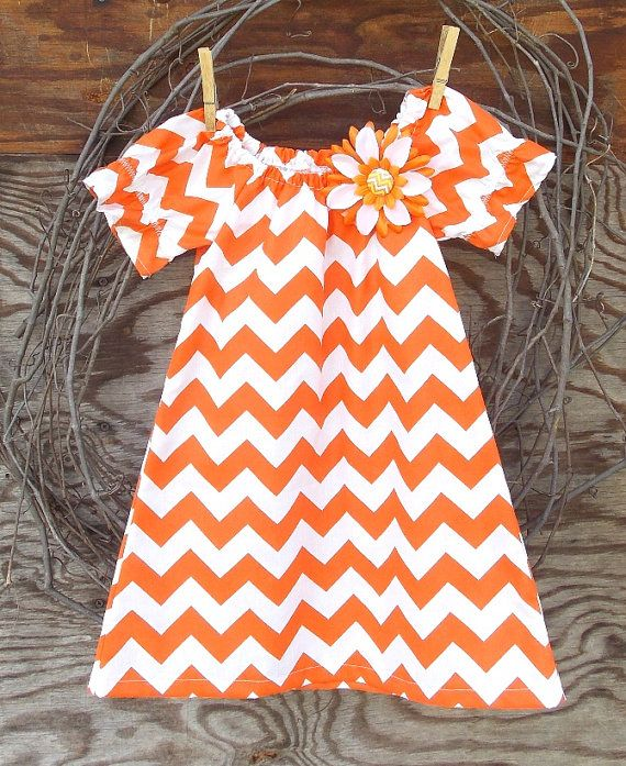 Girls Orange Chevron  Dress Peasant Dress by SouthernSister2, $25.00