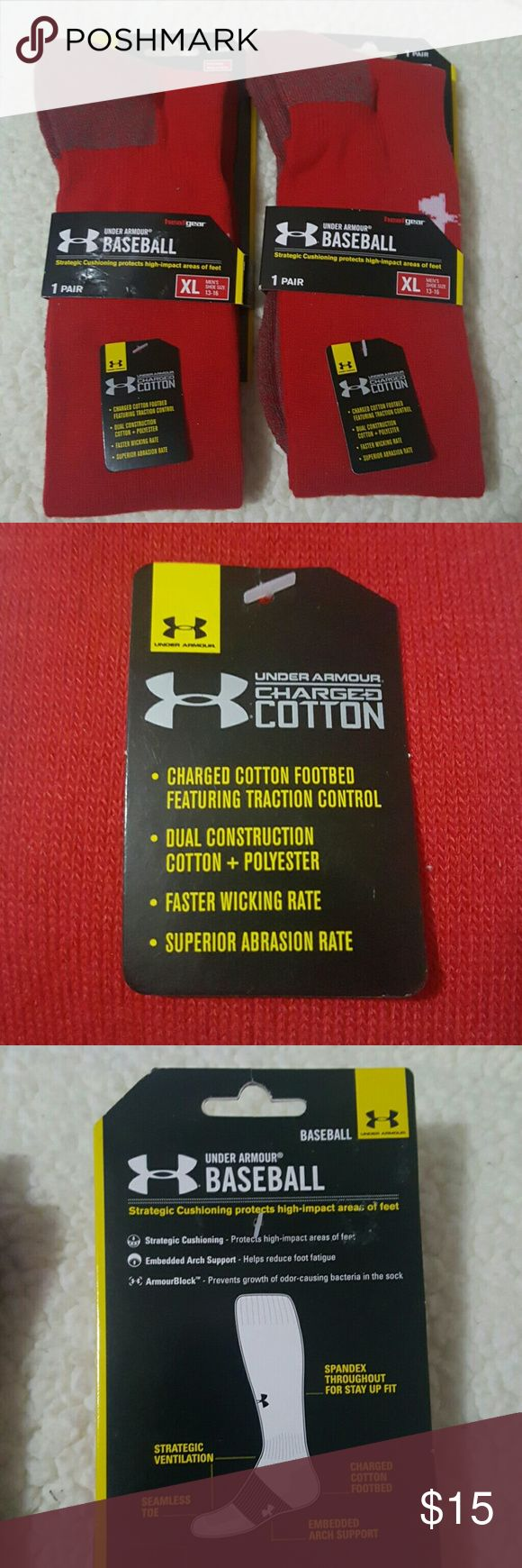 Under Armour Baseball Socks XL NEW! Under Armour Red Baseball Socks  Size:  XL Mens (13-16)  Brand New!  Don't forget to BUNDLE! Under Armour Underwear & Socks Athletic Socks