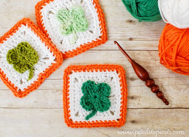 This Crochet Clover Afghan Square is perfect for Spring! Great for St. Patrick's Day projects and more - find the free pattern by Petals to Picots and make it with Lion Brand Vanna's Choice or 24/7 Cotton!