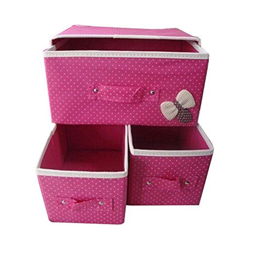 Highdas 1 Pz pieghevole Cassetto organizzatori, Biancheria intima Calze Cravatte Bra cassetto Organizzatore Storage Box con tre cassetti, scatole di immagazzinaggio pieghevole Como 'Armadio Organizzatore di divisori per cassetti BlueRose: Amazon.it: Casa e cucina