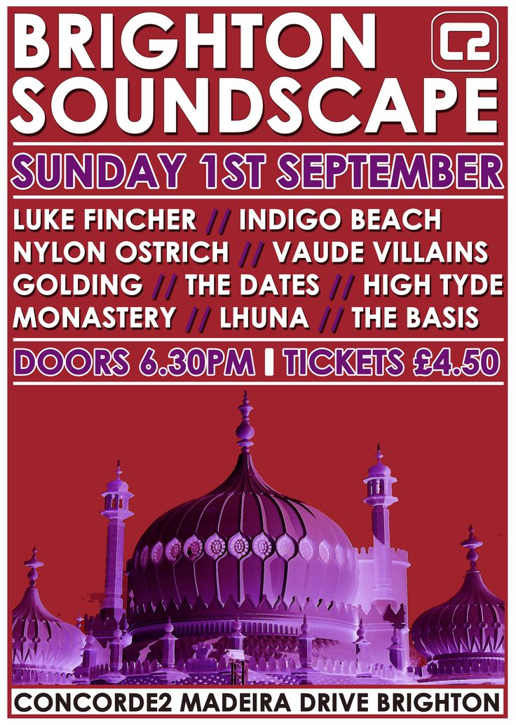 Brighton Soundscape is back for the second time at Concorde2 on Sunday 1st September, showcasing some of the best young, up and coming bands and solo artists from in and around the Brighton area! To buy tickets in advance CLICK THE IMAGE!