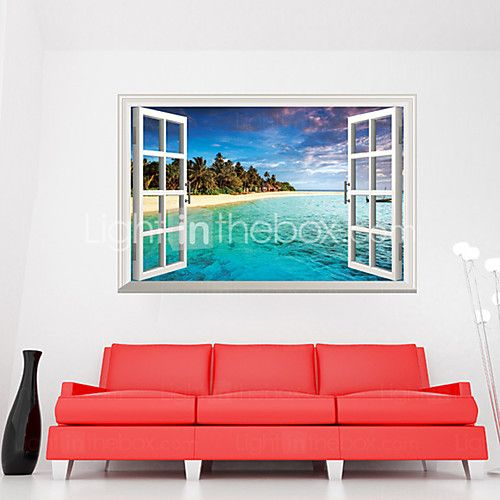 3D Mediterranean Sea Landscape Seabeach 3D Wall Stickers Fashion Bathroom Living Room Wall Decals 2017 - $4.99