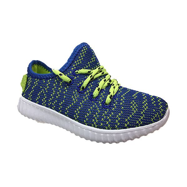 NAVIG8 Blue & Neon Yellow Easy Sneaker (210 EGP) ❤ liked on Polyvore featuring shoes, sneakers, laced sneakers, blue sneakers, neon yellow shoes, synthetic shoes and laced shoes
