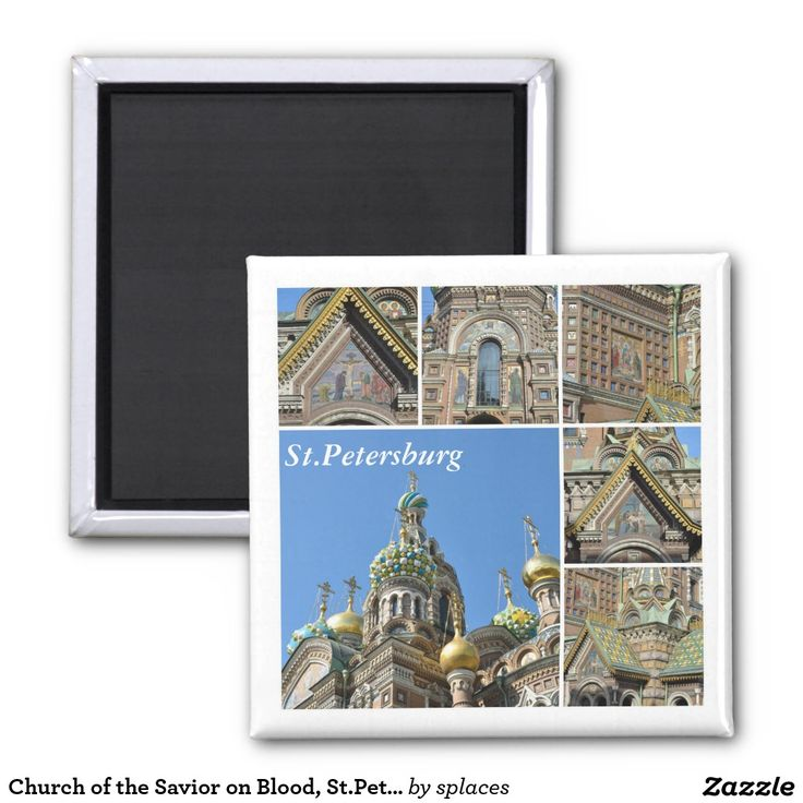 Church of the Savior on Blood in Saint Petersburg, Russia. Collection (collage) of images  2 Inch Square Magnet