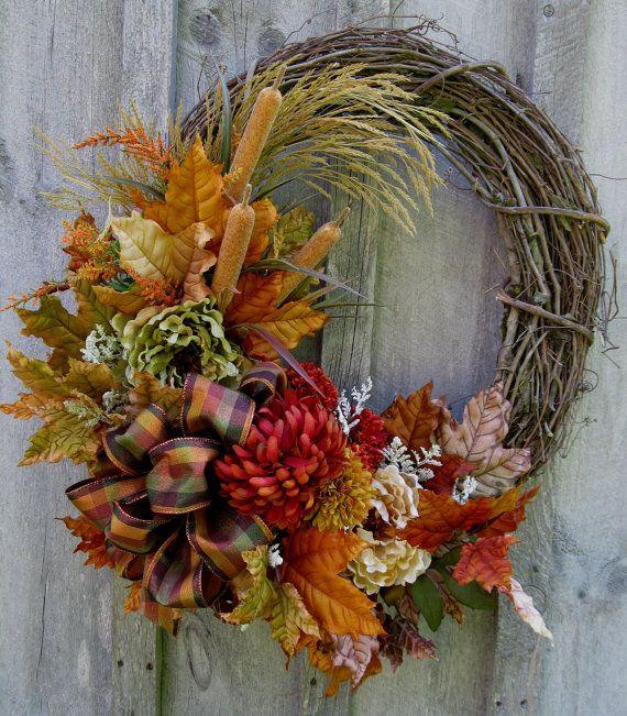 Autumn Wreath, Fall Floral Wreaths, Designer Decor, Woodland, Thanksgiving Decor., via Etsy.